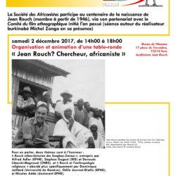 Partenariat Société des Africanistes-Festival international Jean Rouch. Luc Pecquet animera la table ronde : Jean Rouch ? Chercheur,  africaniste